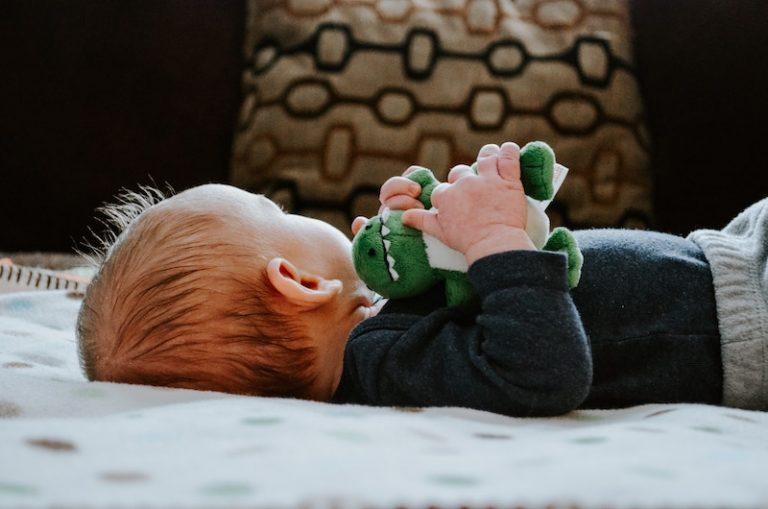 baby boy with stuffed dinosaur - JoAnna Inks Sleep Solutions